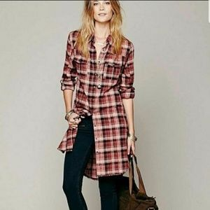 Free People | Plaid Buttondown Shirt Dress Sz L